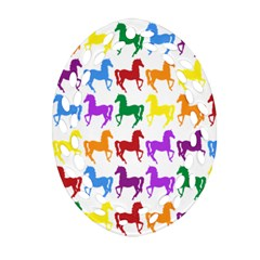 Colorful Horse Background Wallpaper Oval Filigree Ornament (Two Sides)