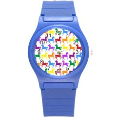 Colorful Horse Background Wallpaper Round Plastic Sport Watch (s)