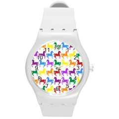 Colorful Horse Background Wallpaper Round Plastic Sport Watch (M)
