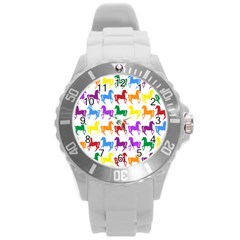 Colorful Horse Background Wallpaper Round Plastic Sport Watch (l)