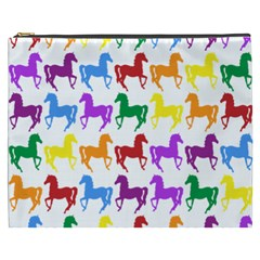Colorful Horse Background Wallpaper Cosmetic Bag (xxxl)