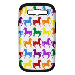 Colorful Horse Background Wallpaper Samsung Galaxy S Iii Hardshell Case (pc+silicone)