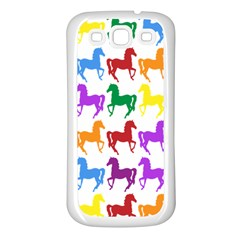 Colorful Horse Background Wallpaper Samsung Galaxy S3 Back Case (White)