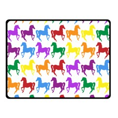 Colorful Horse Background Wallpaper Double Sided Fleece Blanket (small)