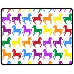 Colorful Horse Background Wallpaper Double Sided Fleece Blanket (medium)