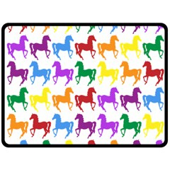 Colorful Horse Background Wallpaper Double Sided Fleece Blanket (large)