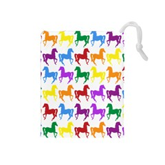 Colorful Horse Background Wallpaper Drawstring Pouches (Medium)