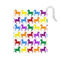 Colorful Horse Background Wallpaper Drawstring Pouches (large)
