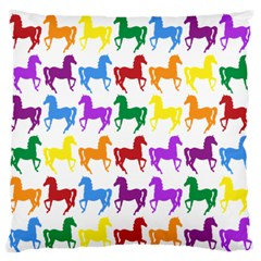 Colorful Horse Background Wallpaper Large Flano Cushion Case (one Side)