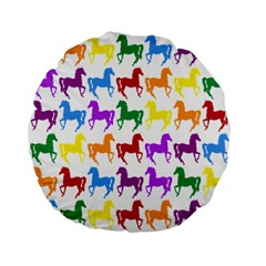 Colorful Horse Background Wallpaper Standard 15  Premium Flano Round Cushions