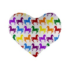 Colorful Horse Background Wallpaper Standard 16  Premium Flano Heart Shape Cushions