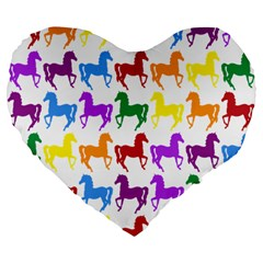 Colorful Horse Background Wallpaper Large 19  Premium Flano Heart Shape Cushions