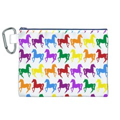 Colorful Horse Background Wallpaper Canvas Cosmetic Bag (xl)
