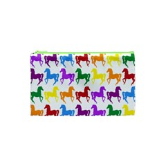 Colorful Horse Background Wallpaper Cosmetic Bag (xs)