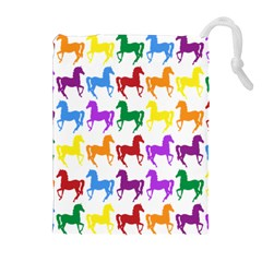 Colorful Horse Background Wallpaper Drawstring Pouches (extra Large)