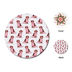 Dog Animal Pattern Playing Cards (round)