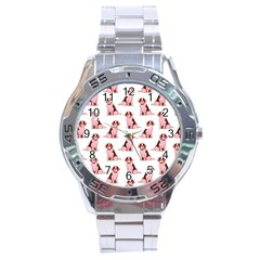 Dog Animal Pattern Stainless Steel Analogue Watch