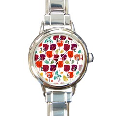 Tree Pattern Background Round Italian Charm Watch