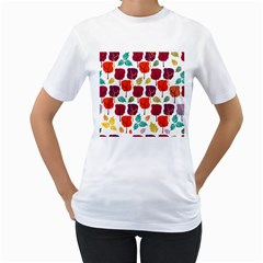 Tree Pattern Background Women s T-Shirt (White) (Two Sided)