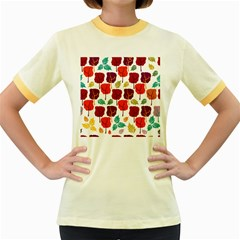 Tree Pattern Background Women s Fitted Ringer T Shirts