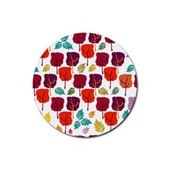 Tree Pattern Background Rubber Round Coaster (4 Pack)