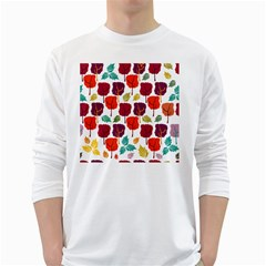 Tree Pattern Background White Long Sleeve T Shirts