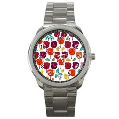 Tree Pattern Background Sport Metal Watch