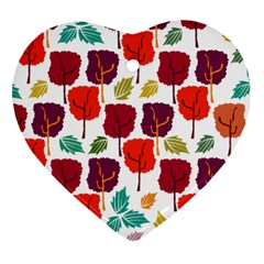 Tree Pattern Background Heart Ornament (two Sides)