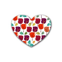 Tree Pattern Background Heart Coaster (4 Pack)
