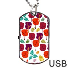 Tree Pattern Background Dog Tag Usb Flash (one Side)