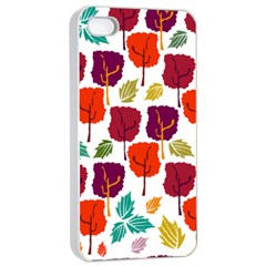 Tree Pattern Background Apple Iphone 4/4s Seamless Case (white)