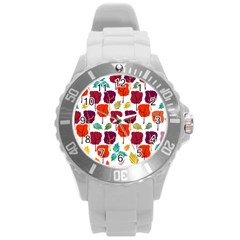 Tree Pattern Background Round Plastic Sport Watch (l)