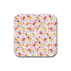 Animal Pattern Happy Birds Seamless Pattern Rubber Square Coaster (4 Pack)