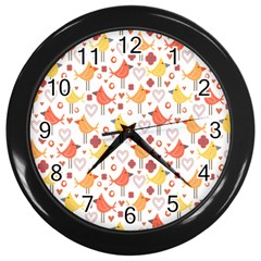 Animal Pattern Happy Birds Seamless Pattern Wall Clocks (black)
