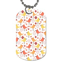 Animal Pattern Happy Birds Seamless Pattern Dog Tag (One Side)