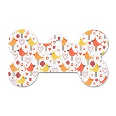 Animal Pattern Happy Birds Seamless Pattern Dog Tag Bone (one Side)