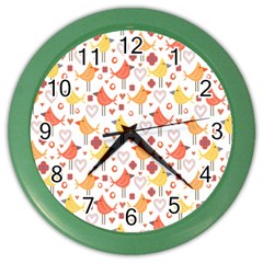 Animal Pattern Happy Birds Seamless Pattern Color Wall Clocks