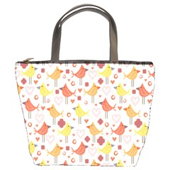 Animal Pattern Happy Birds Seamless Pattern Bucket Bags