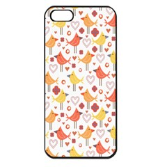 Animal Pattern Happy Birds Seamless Pattern Apple Iphone 5 Seamless Case (black)