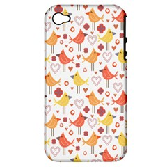 Animal Pattern Happy Birds Seamless Pattern Apple Iphone 4/4s Hardshell Case (pc+silicone)