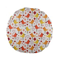 Animal Pattern Happy Birds Seamless Pattern Standard 15  Premium Round Cushions