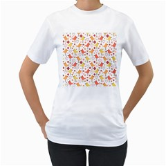 Animal Pattern Happy Birds Seamless Pattern Women s T Shirt (white)