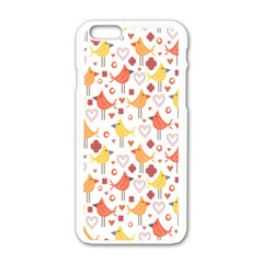 Animal Pattern Happy Birds Seamless Pattern Apple iPhone 6/6S White Enamel Case