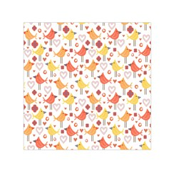 Animal Pattern Happy Birds Seamless Pattern Small Satin Scarf (square)
