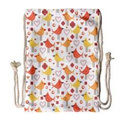 Animal Pattern Happy Birds Seamless Pattern Drawstring Bag (large)