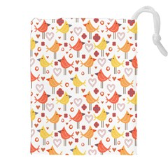 Animal Pattern Happy Birds Seamless Pattern Drawstring Pouches (XXL)