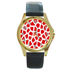 Animal Animalistic Pattern Round Gold Metal Watch