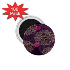 Twig Surface Design Purple Pink Gold Circle 1 75  Magnets (100 Pack)
