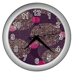 Twig Surface Design Purple Pink Gold Circle Wall Clocks (Silver)