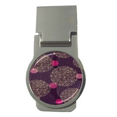 Twig Surface Design Purple Pink Gold Circle Money Clips (Round)